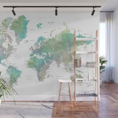 Buy Dusty pink and grey detailed watercolor world map Wall Mural by blursbyaishop. Worldwide shipping available Beach Wall Murals, World Map Mural, World Map Wall Decal, World Map Wallpaper, Gold World Map, Detailed World Map, Water Color World Map, Bedroom Decor, Wall Decor
