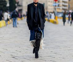 12 Cool, New Ways to Wear Denim, Straight from the Street Style Stars - Skirting the issue  - from InStyle.com