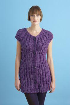 Circular Yoke Vest free knit pattern lionbrand.com - 12 sts + 16 rows = 4 in. (10 cm)