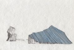Drawing of glacier, ink, gouache and pencil on paper