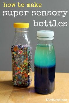 How to make sensory bottles for babies and toddlers. DIY discovery bottles for sensory play. How to make sensory discovery bottles for baby and toddler sensory play. Toddler Play, Baby Play, Toddler Crafts, Crafts For Kids, Diy Crafts, Toddler Games, Infant Activities, Activities For Kids, Diy Learning Toys For Toddlers