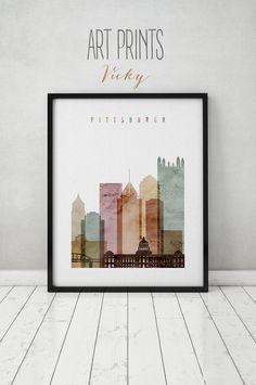 Pittsburgh art print, watercolor, Poster, Wall art, Travel, Pennsylvania, skyline, City poster Typography art, Home Decor, ArtPrintsVicky by ArtPrintsVicky on Etsy