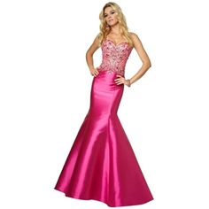 Pre-owned Mori Lee Fuchsia 97006 Dress ($285) ❤ liked on Polyvore featuring dresses, fuchsia, white satin dress, beaded cocktail dress, white beaded dress, white prom dresses and see through dress