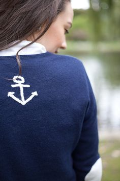 Anchor Whip stitch sweater - Pink Pineapple Shop