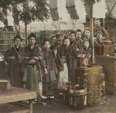 Informal photo of a gathering at a tea house, 1880's, Japan. The Kimono Gallery