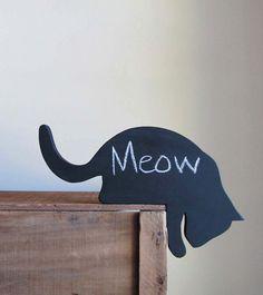 Black Cat Wood Cutout Chalkboard by cattales on Etsy, $17.00