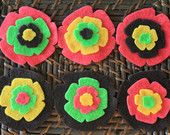 Limited Edition - Felt Flowers with Fuchsia - Neon Green - Yellow and Brown - Your Choice of Color Headband - Baby Headband - Adult Headband...