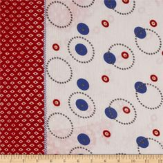 Crinkle Chiffon Glitzy Circles Double Border Red/Blue from @fabricdotcom  This elegant and luxurious sheer chiffon fabric has an ultra soft crinkle textured hand and a beautiful flowing drape that feels lovely against the skin. This chiffon fabric is accented with touches of gold glitter. This very lightweight fabric is perfect for scarfs, shawls, special occasion apparel, blouses and lingerie. It features 6.5'' deep vertical borders along both selvedges.
