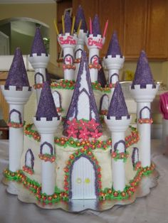 Princess Castle Cake for my girl's birthday party.  Made using the Wilton castle cake set