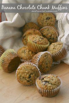 Banana Chocolate Chunk Muffins from JensFavoriteCookies.com for #BrunchWeek