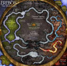 A map of the Underworld of Greek mythology.