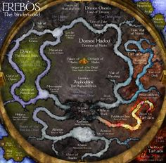 A map of the Underworld of Greek mythology.