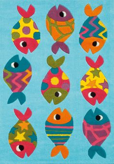 Kids Arte Espina Birds Fish hand-tufted rugs made with Espirelle Acrylic. Modern Kids Rugs, Nursery Area Rug, Kids Area Rugs, Fisher, Childrens Rugs, Types Of Rugs, Nautical Nursery, Hand Tufted Rugs, Animal Decor