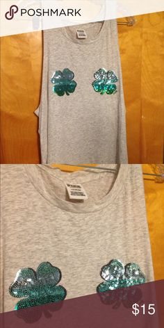 VS PINK cut off tank Gray cut off tank with sequined 4 leaf clovers PINK Victoria's Secret Tops Tank Tops