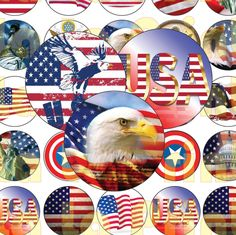 35 America  Digital Party Stickers Circles size 1'' and 1.5'' sheet A4 (8.5''x11'') Bottle Cap images Cupcake Toppers USA Independence Day by…