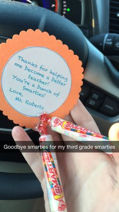 Smarties for my smartie students! Cheap goodbye gift for broke student teachers :)