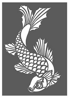 Possible stencil idea for bathroom, sturgeon instead of koi. Fish Stencil, Cool Stencils, Animal Stencil, Stencil Painting, Fabric Painting, Fish Patterns, Stencil Patterns, Stencil Designs, 3d Templates
