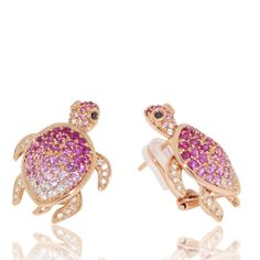 Turtle Earrings with Rubies and Pink Sapphires