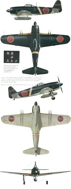 "Kawanishi N1K2-J Model 21, unit Sentou 301st Hikoutai 'Shinsen-Gumi', 343rd kokutai, serial 343-A15, pilot Lt.Naoshi Kanno (72 victories, August 1st, 1945 KIA), Matsuyama, Ehime Prefecture, Shikoku, Spring 1945.  Artist: © Terry Hadler Source: ""Kawanishi N1K Kyofu/Rex & Shiden/GEORGE"" by Rene J.Francillon, Ph.D., Profile Publications Ltd, No.213"