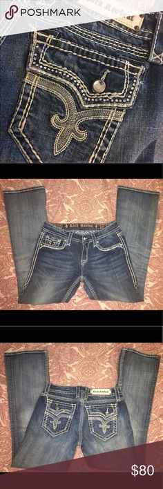 Rock Revival Jeans Rock Revival size 29, bootcut jeans! Beautiful with plenty of ✨BLING✨ I have worn these one time, so they are practically brand new! 💖 Rock Revival Jeans Boot Cut