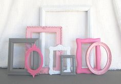 Pinks, Grey White Ornate Frames Set of 8 - Upcycled Painted Ornate OPEN Frames Girls or Nursery bedroom decor
