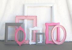 Pinks, Grey White Ornate Frames Set of 8 - Upcycled Painted Ornate OPEN Frames Girls or Nursery bedroom decor