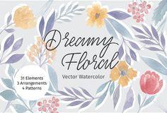 Dreamy Floral Vector Watercolor by Hannah Klingenberg on @creativemarket
