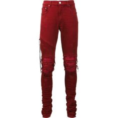 Amiri skinny jeans ($1,351) ❤ liked on Polyvore featuring men's fashion, men's clothing, men's jeans, red, mens red jeans and mens red skinny jeans