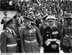 Erhard Milch, Wilhelm Keitel, Walther von Brauchitsch, Erich Raeder, and Maximilian von Weichs during a Nazi rally in Nuremberg, Germany, 12...