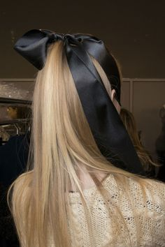 Long, straight ponytail with black, satin bow #hair