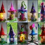 I saw these fantastic fairy houses on Pinterest, the source from Etsy and they made of felt . How beautifuI ! I love them so much ! You can make these lovely fairy houses or fairy gardens for decoration using recycled paper rolls . What a great idea !...