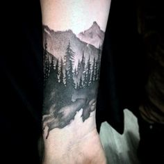 Mountain Forest Masculine Wrist Tattoo For Males