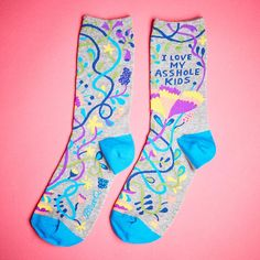 I Love My Asshole Kids Socks – It's Okay To Be Weird Unique Socks, Kids Socks, Swirls, Gifts For Women, How To Memorize Things, Weird, Valentines, Shit Happens, My Love