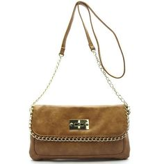 """-Turning lock flap closure  -Faux leather  -Inside lining  -51"""" shoulder strap   -12 (W) x 6.5 (H) inches"""