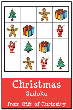 Free Christmas Sudoku Puzzles: Print these Christmas Sudoku puzzles to give your kids some problem solving practice. Download includes three easy 4x4 grid puzzles and one intermediate 9x9 grid puzzle. || Gift of Curiosity