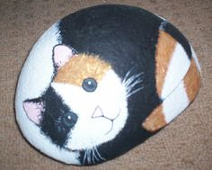 Painted cat stone