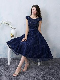 Buy Vintage Lace Beading Boat Neck Cap Sleevels A-line Knee Length Cocktail Dress Online, Dresswe.Com offer high quality fashion,Price: USD$149.48