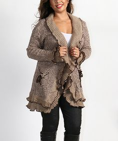 Look what I found on #zulily! Khaki Bouclé Ruffle Open Cardigan - Plus by Shoreline #zulilyfinds