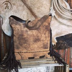 The Naomi - distressed Adobe cognac leather fringe purse from Savannah Sevens Western Chic