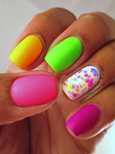 Pop (pink), Glow (yellow) & Envy (green) -- A must do nail color combo while sporting our neon scrubs = )
