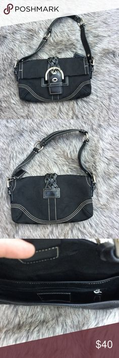 """💥NEW Listing💥 Authentic COACH Mini PURSE Braid trim ~ EUC ~ Length 10"""" across ~ Height 5"""" excluding straps ~ Straps measure 18"""" ~ authentic coach purse purchased from the store ~ carried a handful of times Coach Bags Mini Bags"""