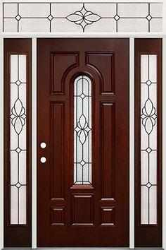 Center Arch Pre Finished Mahogany Fiberglass Prehung Door Unit With Transom  #18