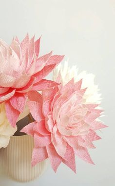 Crepe Paper Flowers, Paper Dahlias, Pink Paper Flowers, First Anniversary Gift, Paper Flowers With S Paper Dahlia, Paper Flower Art, Crepe Paper Flowers, Pink Paper, First Anniversary Gifts, Paper Anniversary, Paper Bouquet, Paper Gifts, Wedding Centerpieces