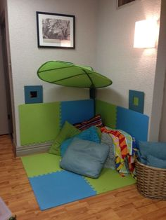 """"""" This would be great if working in an elementar - Counseling office """"kid friendly."""" This would be great if working in an elementar… - Calm Down Corner, Cozy Corner, Small Corner, Corner Space, Kids Corner, Classroom Design, Classroom Decor, School Counseling Office, School Counselor"""