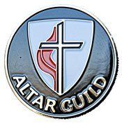 """B-04 Altar Guild Pin by Terra Sancta Guild. $4.95. UMC Altar Guild Pin - 1"""" gold plated bronze with red, black and white inlaid enameled colors"""