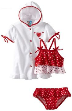 Baby Bunz-Girls Infant Hearts N Dots, Red/White, 12 Months - Cover up and 2 piece swimsuit set Product Features  Three tier ruffles on swimsuit top Applique on cover up left side