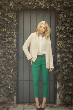 studded collared shirt, blazer, emerald pants. love this outfit