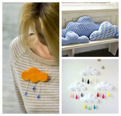 Cloudy Brooch, cloud pillows and cloud mobile