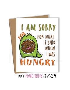I am Sorry Card Apology Card I'm sorry Card Sorry by PinxeStudio