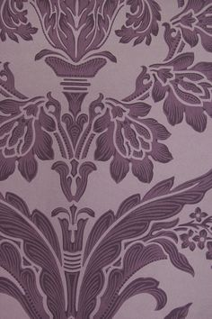 Long Gallery Damask Wallpaper Large Design classic Damask wallpaper in Aubergine.